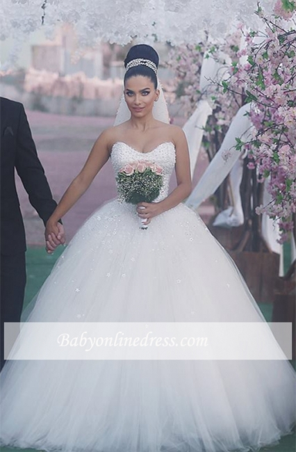Sleeveless Sweetheart Ball-Gown Beading Glamorous Wedding Dress
