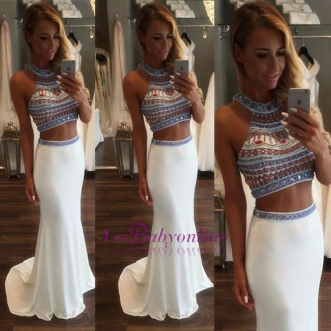 Crystal Glamorous Two Pieces High-Neck Mermaid Prom Dress
