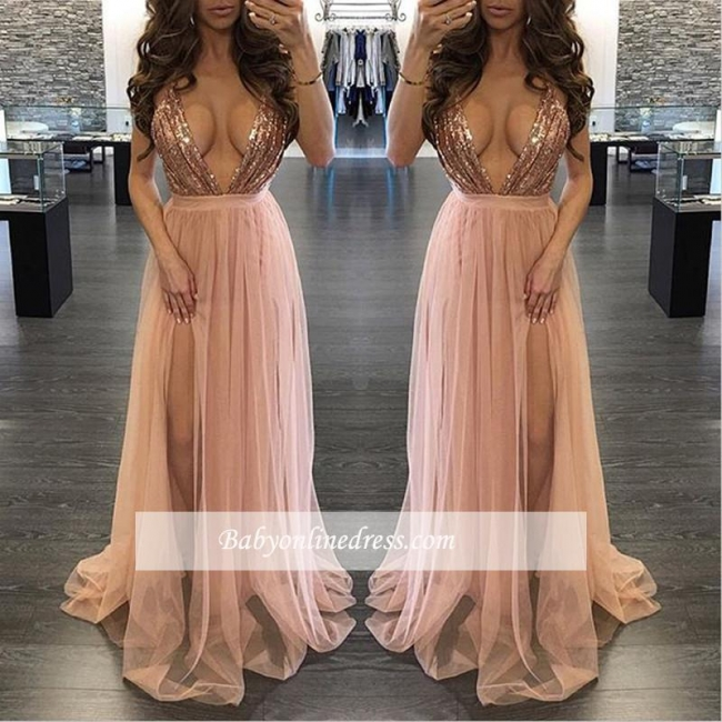 Alluring Sequined Deep V-Neck Prom Dress Floor-Length Side-Slit Evening Gowns