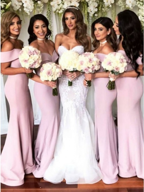 Simple Off-The-Shoulder Mermaid Bridesmaid Dresses | Elegant Side-Slit Long Prom Dresses