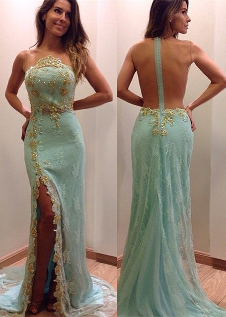 Stunning Lace Appliques Sleeveless Prom Dress Split Evening Gowns with Zipper