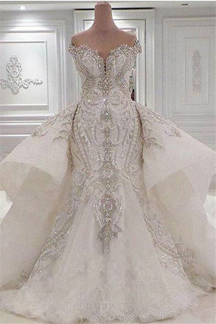Strapless Sweetheart Luxury Crystal Wedding Dresses with Detachable Overskirt