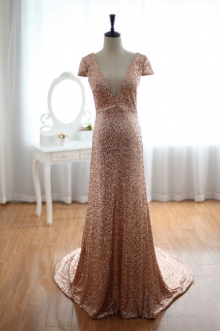 Sexy Deep V-Neck Sequined Prom Dresses Short Sleeves A-line Evening Gowns