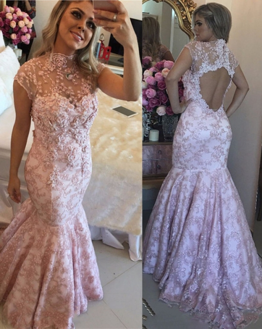 Open-Back Pink Lace Cap-Sleeves High-Neck Beaded Prom Dresses