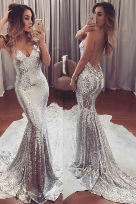 2018 Backless Sequins V-Neck Mermaid Gorgeous Prom Dress