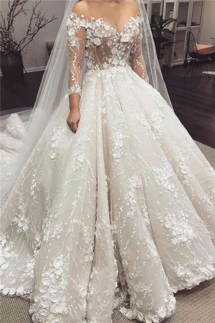 Off the Shoulder Lace Ball Gown Wedding Dresses with Half Sleeves