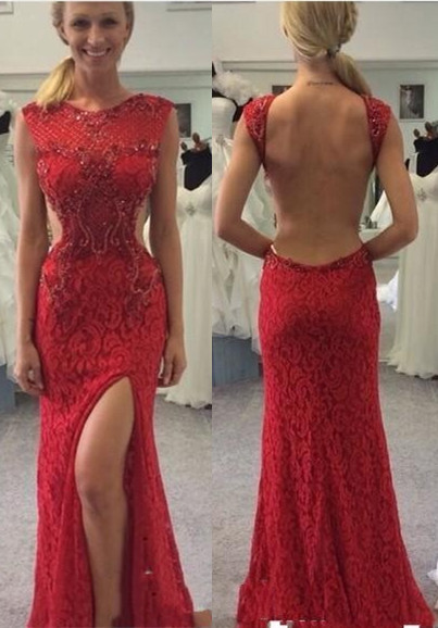 Long Backless Red Lace Split Mermaid Sexy Prom Dresses