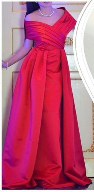 Formal Red Evening Gowns Off the Shoulder Ruched Satin Long Prom Dresses
