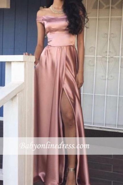Pink Off-the-Shoulder Shiny Front-Slit A-line Rose Prom Dresses