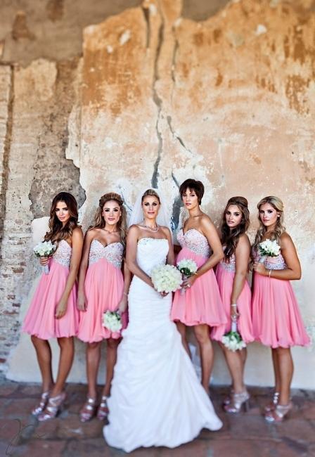 Chiffon Short Sweetheart Bridesmaid Dresses Knee Length Beadings Summer Maid of Honor Dresses