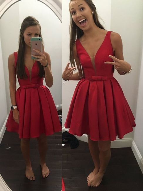 Simple Cheap V-neck Sleeveless Short Bowknot Straps Red Homecoming Dress