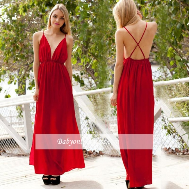 Backless A-line Sexy Spaghetti-Strap V-neck Sleeveless Evening Dress