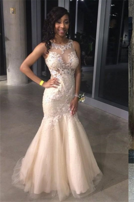 Elegant Mermaid Prom Dresses Crew Illusion Sleeveless Tulle Evening Gowns