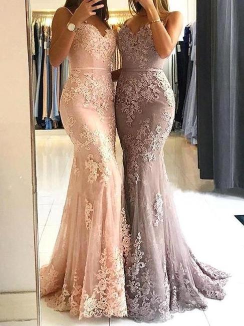 Elegant Sleeveless Mermaid Prom Dresses | Spaghettis Straps Lace Appliques Evening Gowns