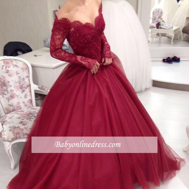 Elegant Tulle Lace Off-the-shoulder V-neck Ball-Gown Long Sleeves Princess Evening Dresses