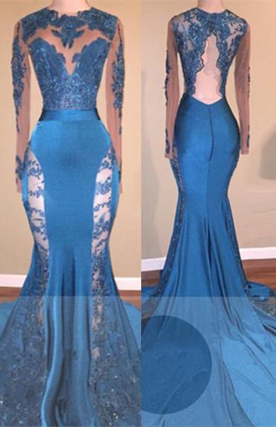 Elegant Blue Mermaid Prom Dresses | Sheer Lace Long Sleeves Evening Gowns