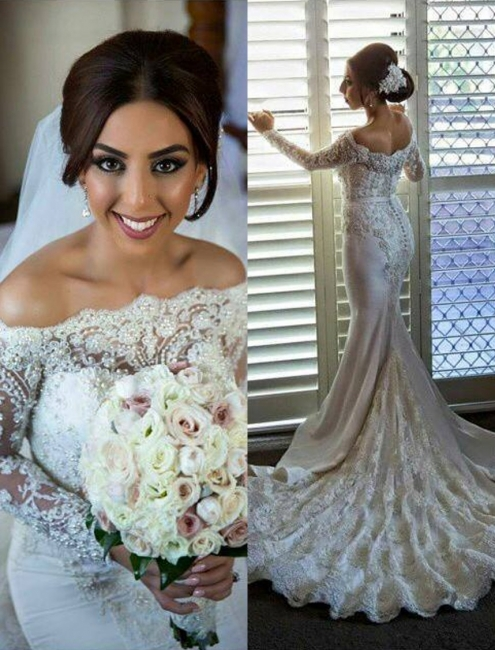 Lace Pearls Beaded Off Shoulder Mermaid Wedding Dresses with Long Sleeves