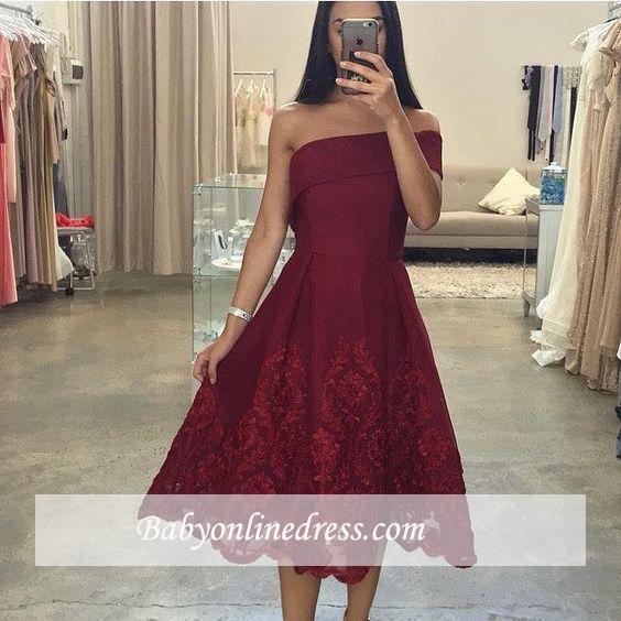 Off-the-Shoulder Asymmetric Tea-Length Burgundy Prom Dresses
