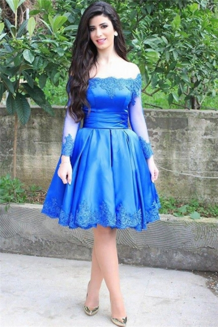 Blue Elegant Lace Appliques Knee Length Long Sleeve Off-the-shoulder Homecoming Dress
