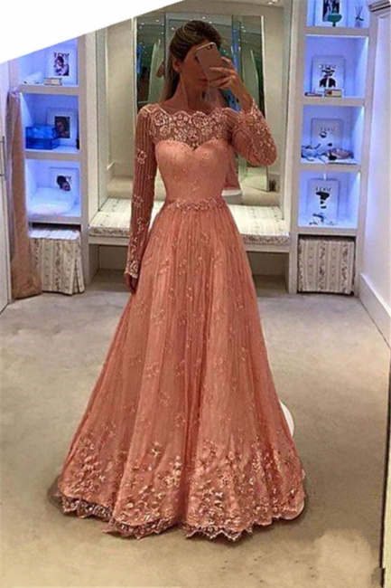 Newest Lace Long Sleeves Party Gowns 2018 Appliques A-Line Prom Dress