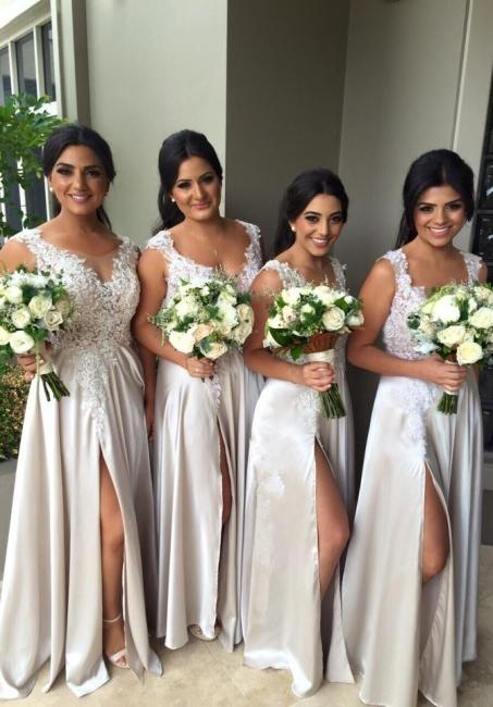 White Lace Appliques Bridesmaid Dresses A-Line Side Slit Party Gowns