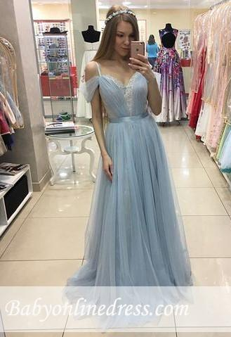 Cap-Sleeves Sweep-train Tulle Beautiful A-line Straps Prom Dress