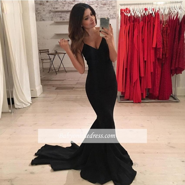 Black Spaghetti-Strap Mermaid Sexy V-Neck Prom Dress