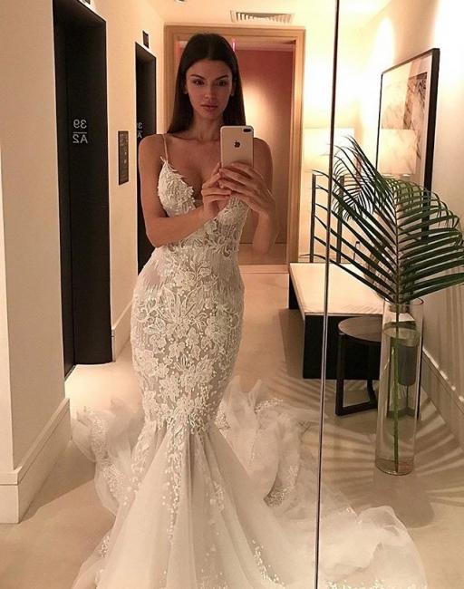 Vintage Spaghetti Strap Tulle Mermaid Lace Button Wedding Dresses