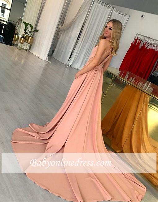 A-line Simple Pink Sweep-trian Sleeveless Halter Evening Dress