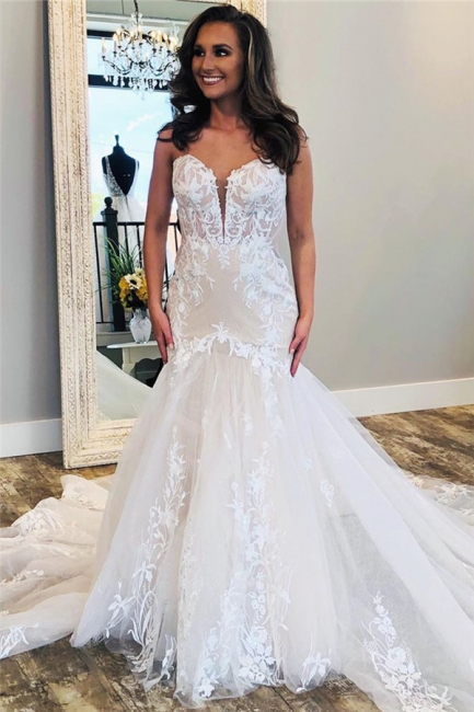 Modern Lace Fit and Flare Wedding Dresses | Cheap Tulle Bridal Gowns