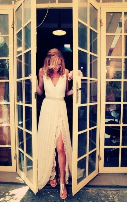 Boho Backless Beach Wedding Dresses V Neck Side Slit Chiffon Summer Bohemian Bridal Gowns