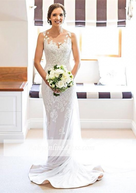 White Lace Elegant Sleeveless Sheath Long Wedding Dresses