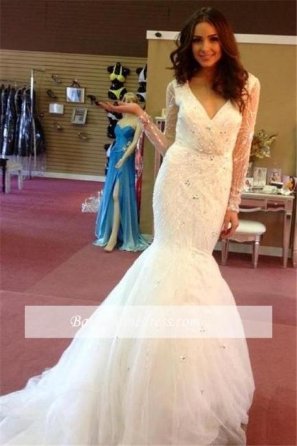 Elegant Mermaid Puffy Beaded V-neck Tulle Sequins Wedding Dresses