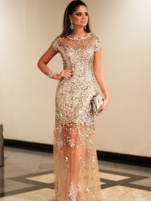 Luxury Beading Tulle Evening Gowns | Short Sleeves Crystals Pageant Dress