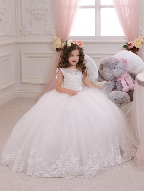 White Flower Girls' Dresses Lace Tulle Puffy Ball Gown Girls' Pageant Dresses Communion Gowns