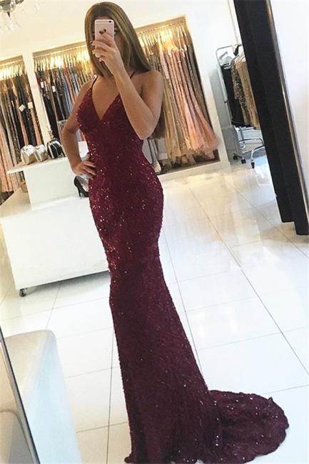 Shiny Mermaid Burgundy Prom Dresses 2018 V-neck Straps Backless Sequined Formal Dress