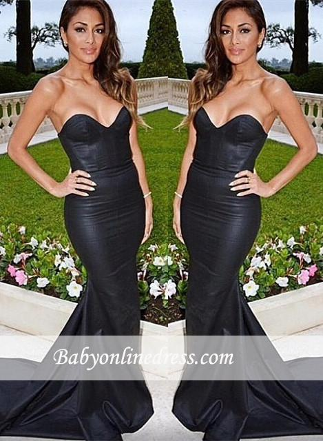 Sexy Mermaid Black Prom Dresses Sweep-Train Sweetheart Evening Gowns