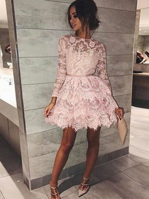 Chic Sheer Long Sleeves A-Line Homecoming Dresses | Pink Ruffles Lace Mini Cocktail Dresses