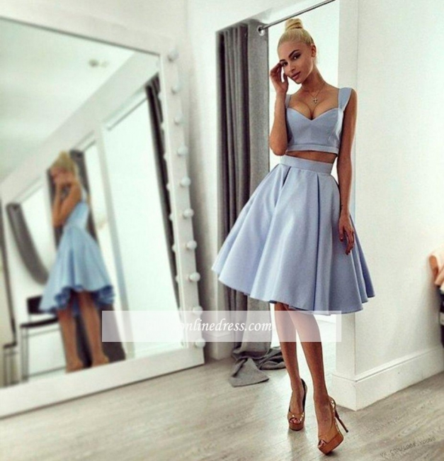 Chic Ball-Gown Straps Light-blue Knee-length Prom Dress