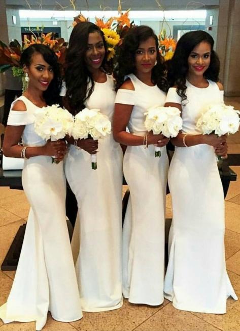 White Mermaid Bridesmaid Dresses | Simple Capped Sleeves Wedding Party Dress