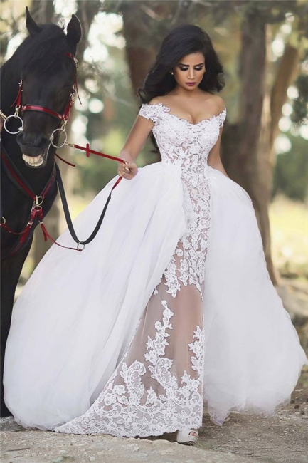 Off The Shoulder Lace Sheath Detachable Skirt Overlay Wedding Dresses