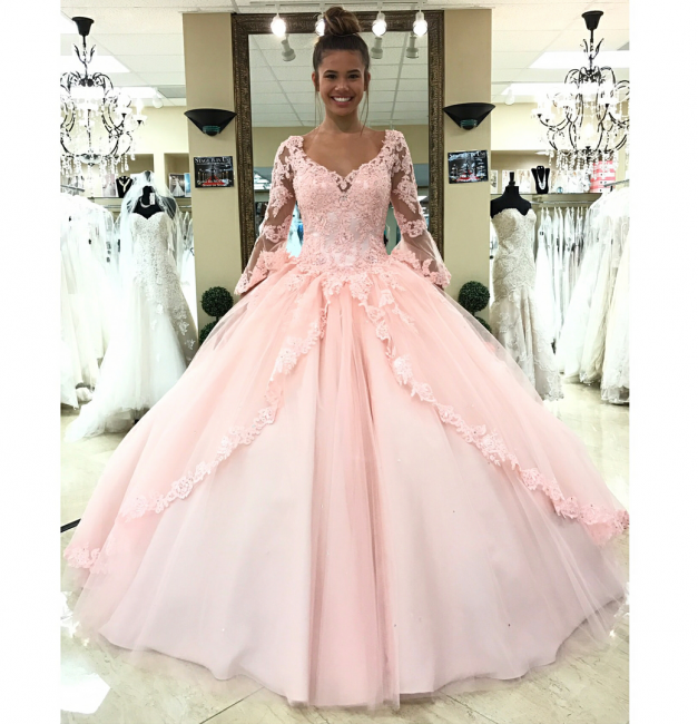 Sweetheart Long Sleeves Ball Gown Wedding Dresses | Simple Lace Quinceanera Dress
