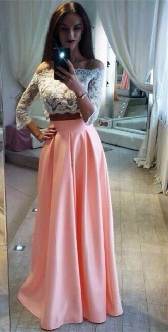 Two-Pieces Elegant Lace Off-the-Shoulder A-Line Pink Prom Dress