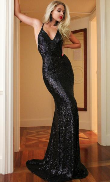 Sexy Black Mermaid Prom Dresses V-Neck Open Back Party Dresses