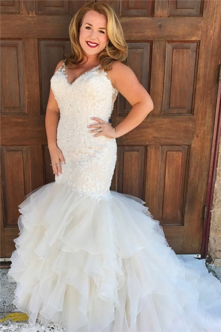 Cheap Mermaid Wedding Dresses with Tiered Train | Sleevelss Lace Bridal Dresses