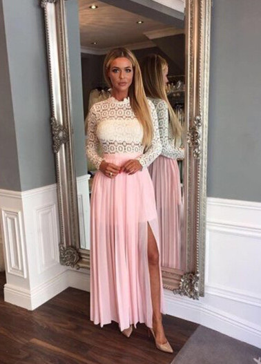 Lace Split Elegant Chiffon Long-Sleeve A-line High-Neck Zipper Prom Dress
