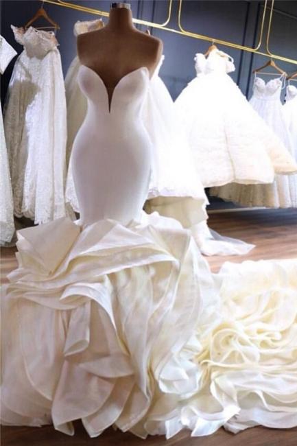 Strapless Sweetheart Sleek Mermaid Wedding Dresses with Tiered Train