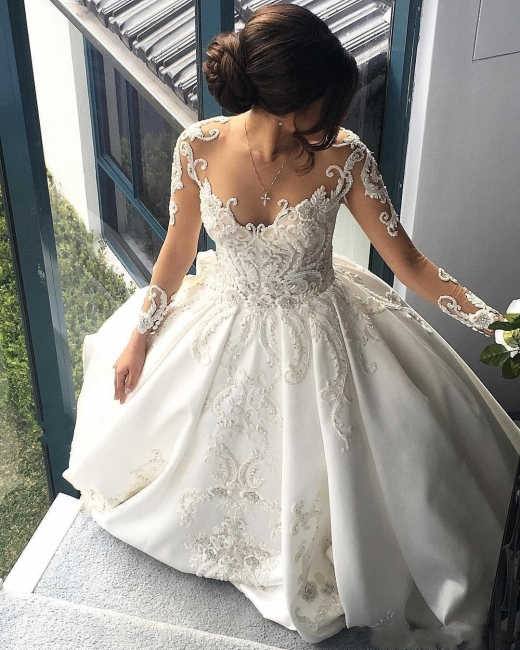 Luxury Ball Gown Wedding Dresses | Sheer Long Sleeves Chapel Train Bridal Gowns