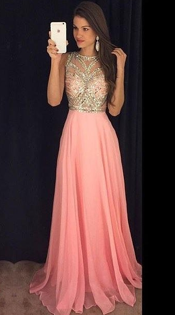 Long Chiffon Prom Dresses Pink Gold Beading Sleeveless Gorgeous A-line Evening Gowns