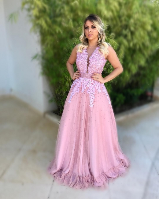 Prom Sheath Pink Dresses Hot Long Tulle With Lace
